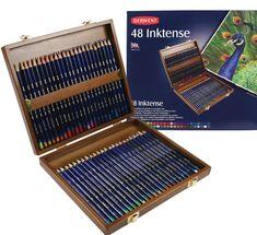 Derwent Inktense Pencils, 4mm Core, Wooden Box, 48 Count @ moffittsonlinebuys.com/