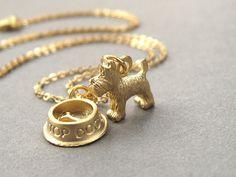 Scottie dog necklace, scotty dog, scottish terrier, gold dog charm necklace, gold plated chain. via Etsy.