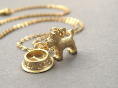 Scottie dog necklace, scotty dog, scottish terrier, gold dog charm necklace, gold plated chain. via Etsy.