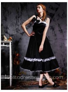 Black Cotton Straps Sleeveless Empire Classic Lolita Dress With Lace Style