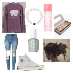 """""""better than your face.😜"""" by madelynnnnnnnne on Polyvore featuring Essie, Victoria's Secret PINK and Converse"""