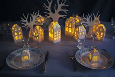 Table village de Noel | Déco de Noël : Bougie led BLOO Lands