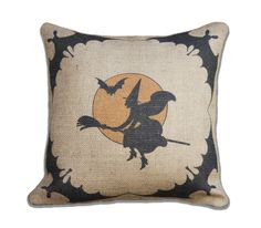 Primitive Halloween Pillow Cover, Witch Bats and Moon, Spooky Decoration, Porch, Moon, Trick or Treat, Party Decor, 16x16. $46.00, via Etsy.