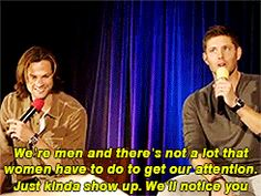 """gif of jensen's response to a fan asking """"what is the craziest thing a female fan has done to attract your attention?"""""""