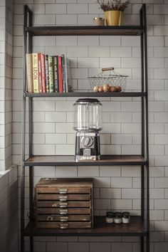 A kitchen isn't complete until it has a healthy pile of cookery books.& maybe a perfect spot to read them too. Wooden Shelving Units, Shelves, Rustic Contemporary, Bespoke Kitchens, Graphic Design Projects, Industrial Chic, Ladder Decor, Kitchen Design, Bookcase