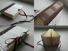 http://www.ardeas.sk/ handmade book - leather & paper / romantic look ú Long stitch / original bookbinding