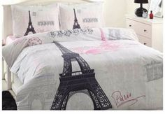 Paris Eiffel Tower Pink Double Duvet Quilt Cover Set %100 Cotton 4 Pcs #Ozdylek #Modern