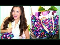 """GIY (glam it yourself) Tote Bag <3 No Sewing Necessary! Super cute and durable. Can be used for laundry, groceries, school, or everyday. All you need is one 36""""x21"""" piece of cute fabric with duct tape to match, stapler, scissors, ruler, two 24"""" pieces of belting, and an iron."""