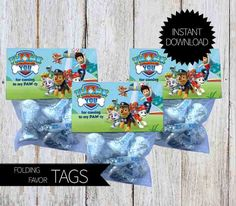 PAW Patrol Birthday Party PRINTABLE Folding Treat Bag Tags Instant Download