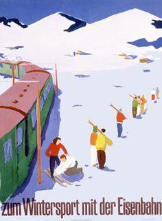 zum Wintersport mit der Eisenbahn (For Winter Sports with the Railroad) German ski poster