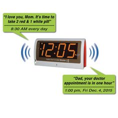 Reminder Rosie Talking Alarm Clock  NOW IN STOCK AND READY TO SHIP!   Exceptionally easy to use talking alarm clock with personalized voice reminders for seniors, caregivers and older adults  Set 25 personalized voice reminders in any language by day, week, date or even annually  Reminders audible from 100 feet away  Assistive living device for the visually impaired - can be operated almost entirely by voice  Doubles as voice-activated alarm clock with large LED display