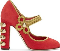64aea7e2deb Suede Mary Jane style heels in red. Metallic textile piping in gold tone  throughout. Fixed strap at vamp. Hemisphere stud detailing at covered block  ...