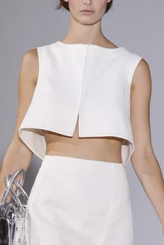 Chic Simplicity - white skirt & crop top; fashion details // Jil Sander Spring 2014