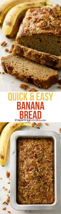 These easy banana bread recipe only has 8 ingredients and I can make it so fast. It's so good with either sugar and pecans on top or chocolate chips in it! Dairy Free Banana Bread, Easy Banana Bread, Banana Bread Recipes, Vegan Bread, Quick Easy Desserts, Fast Easy Meals, Dairy Free Recipes, Gluten Free, Sweet Bread