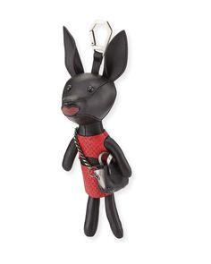 Sophie Dog Charm for Handbag, Black/Ruby Red
