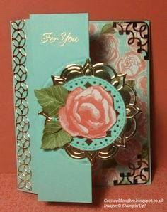 Good Morning Ladies, My last front folded card for this week, this time I die cut the Eastern Medallion die cut into the fron. The Die, Good Morning Ladies, Touch Of Gold, Your Image, Stampin Up, About Me Blog, Rose Gold, Frame, Highlight