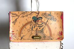 Elyse Stone Painted Leather Clutch