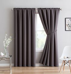 """Erica - Premium Rod Pocket Blackout Curtains With Tiebacks - 2 Panels - Total 108 Inch Wide (54 Each Panel) - 108 inch long - Solid Thermal Insulated Draperies (54""""W x 108""""L - Each Panel, Charcoal)"""
