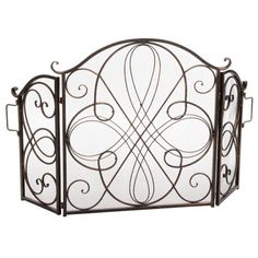 Shop Christopher Knight Home Kingsport Fireplace Screen - On Sale - Overstock - 9573632 - Gold Flower on Black Metal Fireplace, Fireplace Guard, Fireplace Ideas, Fireplace Accessories, Scroll Design, Gold Flowers, Home Decor Outlet, Antique Copper, Hearth