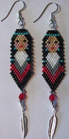 How to Do Native American Beadwork | Hand Beaded Native American inspired Indian Maiden earrings with ...