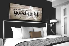 Bedroom Decor Wall Art: Kiss Me Goodnight Wall Art 2 Sizes Available (Wood Frame Ready To Hang)