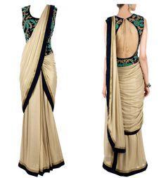 Indian Designer Chiku Color Party Wedding Wear Saree