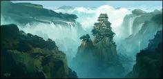 The Hidden Village, Andreas Rocha on ArtStation at https://www.artstation.com/artwork/AZAVV