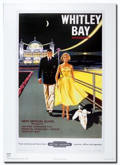 Whitley Bay - British Railways (1950's) love this because of the beautiful dress the woman is wearing too :)