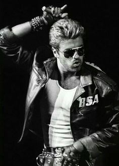 George Michael, rocker men, jeans, fashion, hard rock, accessories, leather belt, leather jacket, gürtel, Plácido de la Rosa, luxury shopping, rocker fashion, summer, http://shop.placidodelarosa.com/en/