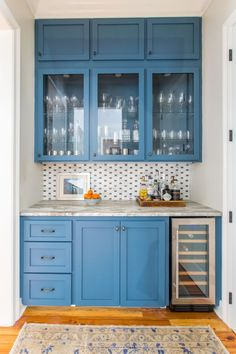INTERIORS — Brooke Chamblee Interiors Blue Kitchen Cabinets, Kitchen And Bath, Oak Cabinets, Kitchen Redo, Kitchen Pantry, Kitchen Layout, Kitchen Design, Blue Powder Rooms, White Rooms