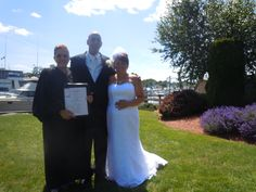 Me, with Bride, Annamae, and Groom, Scott, at their wedding at the Danversport Yacht Club, Danvers.