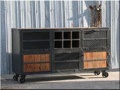 Vintage Industrial End Table. Reclaimed Wood and Steel Buffet. Rustic Design, Rustic Decor, Rustic Media Console, Solid Doors, Wood Steel, Loft Design, Rustic Industrial, Industrial Office, Cafe Bar