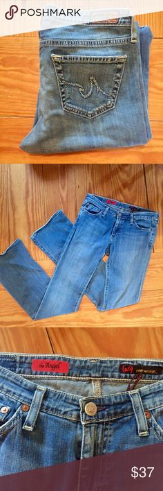 "AG the Angel Jeans AG Adriano Goldschmied the Angel jeans. In gently used condition. Medium wash with really nice whisker detailing. Bottoms in good condition! Measurements: inseam 32"", rise 8"", 15"" waist. Ag Adriano Goldschmied Jeans Boot Cut"