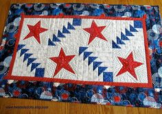 Patriotic Table Runner, Quilted Table Runner, Americana, July 4, Red white and blue