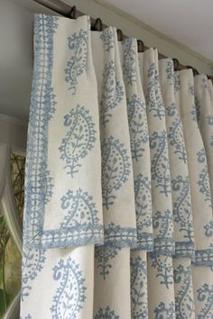 Draperies with attached valance and contrast banding