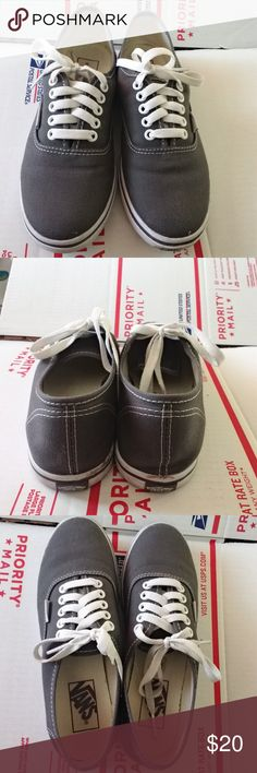 Dark Grey Vans Dark gray Vans in excellent condition. A little dirty and a small stain, pictured. Hardly any normal wear and tear. Vans Shoes Sneakers