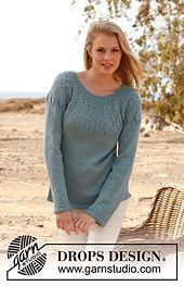 Ravelry: 145-17 Sweet Harlequin - Jumper with lace pattern and round yoke in BabyAlpaca Silk pattern by DROPS design