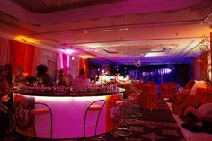 Four Seasons Park Lane London - Wall drapes, wall uplighters, gobo light projections, palms, cut birch, circular illuminated bar, themed furniture and staging by www.stressfreehire.com #venuetransformers