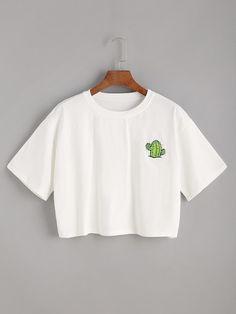White Cactus Print Crop T-shirt Cute Lazy Outfits, Crop Top Outfits, Pretty Outfits, Stylish Outfits, Cool Outfits, Girls Fashion Clothes, Teen Fashion Outfits, Jugend Mode Outfits, Vetement Fashion