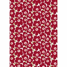 Marimekko Pieni Unikko White/Cherry Fabric Newly turned half a century old, Maija Isola's famous flowers are as lovable as ever on the Marimekko Pieni Unikko White/Cherry Fabric. Cherry red, bubblegum pink and forest green form a rich and roman. Marimekko Fabric, White Cherries, Bubblegum Pink, Printed Sarees, Cherry Red, Finland, Print Patterns, Cottage, Romantic