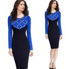 Women's Elegant Colorblock Embroidered Long Sleeve Wear to Work Business Office Stretch Bodycon