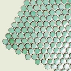 Glazed ceramic penny-round tile in vintage green \\ this would look stunning w bronze fixtures!