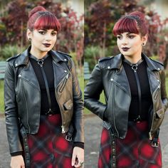 De Coturno e Spikes: Look do Dia: Maxi Tartan Skirt, Biker Jacket & Harness