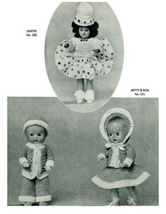 """ALMOST FREE Instant PDF Download Vintage Crochet Pattern Booklet Doreen Dolls 16 Pages of Dolls Clothes Outfits for 8"""" and 11"""" Dolls"""
