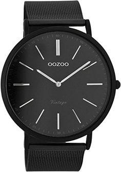 Oozoo Vintage Herren-Armbanduhr Schwarz C7383 - http://uhr.haus/oozoo/oozoo-vintage-ultra-slim-metallband-44-mm-black