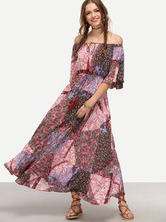 7df2c4bc560 Milumia Women s Boho Off The Shoulder Swing Maxi Dress Small Navy at Amazon  Women s Clothing store