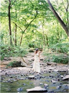 bride in vintage dress in forest