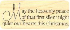 """{Single Count} Unique & Custom (2 3/4"""" By 1 1/2"""" Inches) """"Heavenly Peace, Christmas Text"""" Rectangle Shaped Genuine Wood Mounted Rubber Inking Stamp mySimple Products http://www.amazon.com/dp/B015YD5HI2/ref=cm_sw_r_pi_dp_RMvMwb1S4R1QT"""
