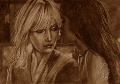 Charlize Theron and Sofia Boutella in 'Atomic Blonde'. Freehand sketch usng HB pencil and eraser. Darkened and tinted digitally. Comic Book Heroes, Comic Books, Sofia Boutella, Atomic Blonde, Charlize Theron, Pencil, Sketches, Comics, Fictional Characters