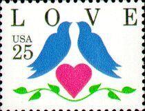 LOVE Stamp 25c BlueBirds .. Set of 50 .. Unused Vintage US Postage stamps sold by TreasureFox, $29.50